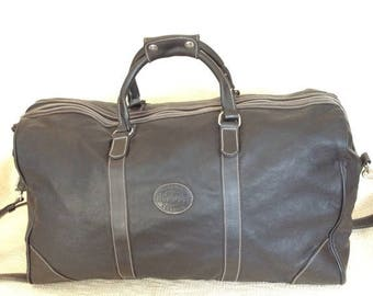 20% SUMMER SALE Amazing genuine vintage ROOTS Canada black leather duffle travel bag carry all