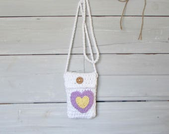 Small Hand Crocheted White Heart Purse Teen Girl Small Cross-body Purse