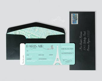 Paris Airline Ticket Invitation, Boarding Pass, French Birthday Party, French Breakfast at Tiffanys, Bridal Shower, Baby Shower, Bat Mitzvah