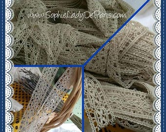 Antique Narrow Beige Lace French Butterfly Bobbin Cotton Lace Sold by the Yard Unused Sewing Project Bridal Collectible #sophieladydeparis