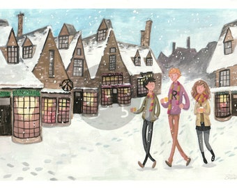 Hogsmeade Harry Potter Gouache Digital Download
