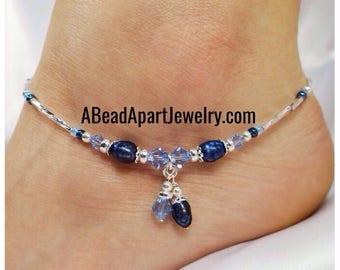 Anklet Ankle Bracelet Sterling Silver Anklet Royal Blue Pearl Anklet Blue Anklet Something Blue Wedding Anklet Crystal Anklet Beach Anklet