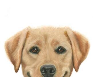 Yellow Labrador Retriever, Yellow Lab Art, Yellow Lab Gift, Smiling Lab
