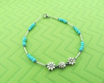stainless steel flower anklet and bracelet