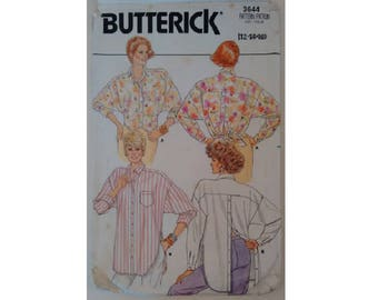 Vintage 80's Butterick #3644 Button Back and Front Casual Over Shirt 2 Lengths Sewing Pattern Size UK 12 Bust 34""