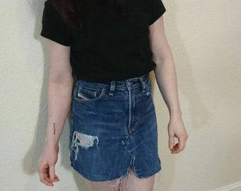Re worked Denim mini skirt