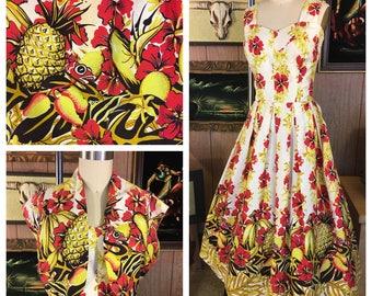 Vintage 1940's 1950's Royal Hawaiian Sun Dress and Bolero Size M / L