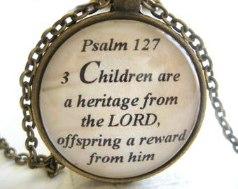 Bible Verse Necklace - Scripture Necklace - Children Are A Heritage From The Lord - Psalm 127:3 - Christian Necklace - Gift Box Included