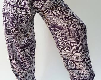 CH0407 Rope and Elastic Waist Lady pants - bohemian clothing women yoga pants harem pants hippie trousers