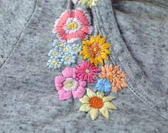 Up-cycled Hand Embroidered Floral Shoulder Gray T-shirt