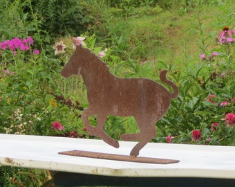 Sweet Salvaged Reclaimed Recycled Rusty Metal Galloping Horse Garden Decor  Doorstop Welded To Base