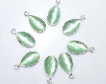 Sea Green Catseye Glass Quartz Bezel Set Pear Chain, hydro Quartz Connector, 13x8mm Bezel Chain - Chain 55AA63A