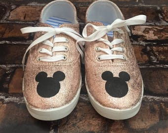 Rose Gold Mickey Mouse Disney Shoe. Disney World Shoes. Mickey Silhouette.