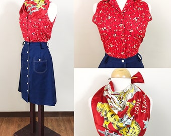 1960s Skirt and Blouse Set / Vintage / Wild West / 3 pieces / Red and Blue / Texas