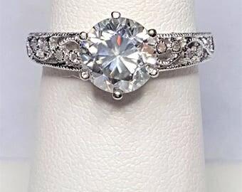 1.81ct Round Moissanite Diamond and .13ctw Diamond 14kt White Gold Ring