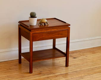 Mid Century Modern Walnut + Rosewood Nightstand