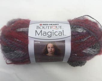 Red Heart Boutique Magical Yarn, Hocus Pocus Yarn, Gray and Red Yarn