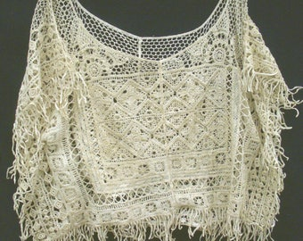 Lovely vintage crochet square crop top with subtle gold metallic glints and fringed edges, circa 80's-90's