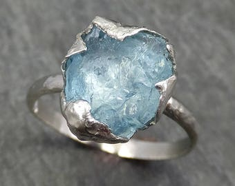 uncut Aquamarine Solitaire Ring Custom One Of a Kind Gemstone Ring Bespoke byAngeline 0621