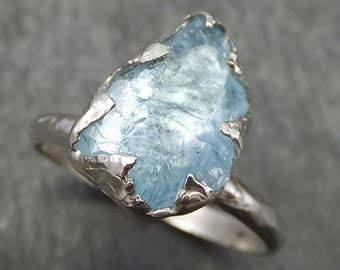 uncut Aquamarine Solitaire Ring Custom One Of a Kind Gemstone Ring Bespoke byAngeline 0622