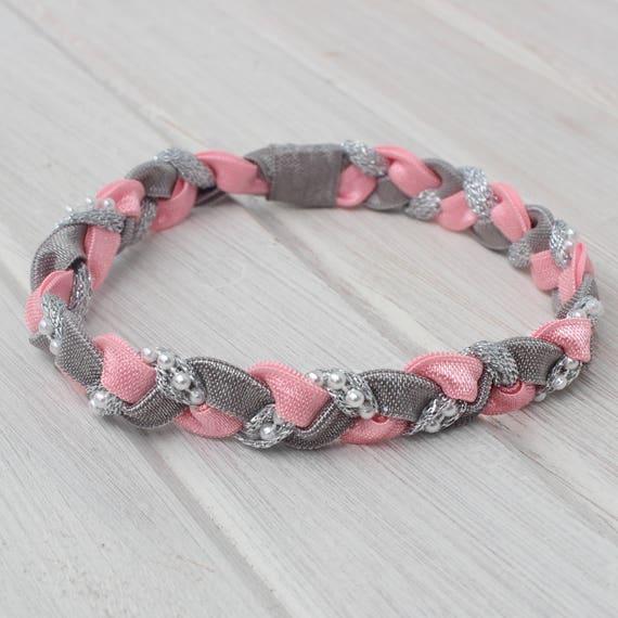 Pink Baby Headband, Pink Headband, Boho Headband, Braided Headband, Silver Headband, Pearls Headband, Newborn Headband, infant headband