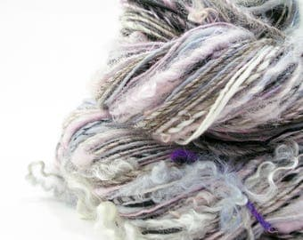 Textured Yarn, Handspun Yarn, Art Yarn, Handspun Art Yarn, Knitting, Weaving Yarn, Gray White Pink, Light Worsted, Artisan Yarn - SNOWY OWL