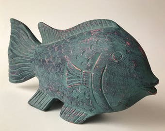 """Hand Carved Huge Exotic Fish Solid Wood 3lbs Statue Figurine Nautical Detail Carving Decor 15""""L"""