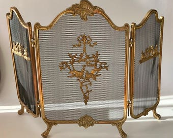 """Vintage Cast Brass Wood Fireplace Screen Victorian French Unique Ornate Details Exotic Fantasy Birds 29""""X29"""""""
