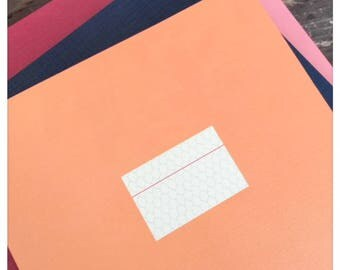 Large Orange Notebook with Hexagon Grid Paper Sheets