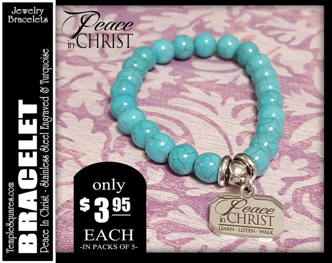 Charm Bracelet YW 2018 Peace In Christ Young Women LDS Theme Jewelry Turquoise Beads  YW New Beginnings,  Christmas, Birthday gifts charms