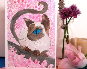 Pixie , Hand Illustrated Cat Greetings Card , Cat Card, Siamese Cat Card, Illustrated Cat Card, Hand Illustrated Cat and Blossom Card