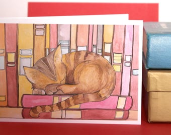 Shakespear , Hand Illustrated Cat Greetings Card , Cat Card, Tabby Cat Card, Illustrated Cat Card, Hand Illustrated Sleeping Cat Card