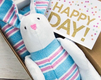 Receiving blanket bunny - hospital blanket animal - keepsake animal - baby memory toy - clothing animal - baby keepsake