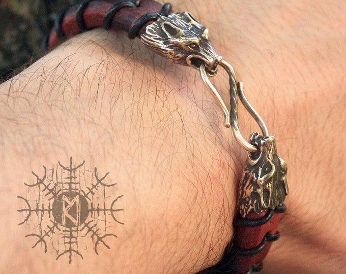 Bronze Wolf Heads Handmade Braided Genuine Leather Bracelet WHB7