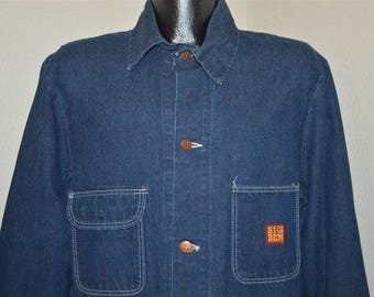 80s Big Ben Railroad Denim Chore Work Jean Jacket Large