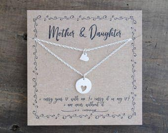 Mother Daughter  Necklace  .  i carry your heart mother and a daughter  .  mother of the bride gift  . back to school gift