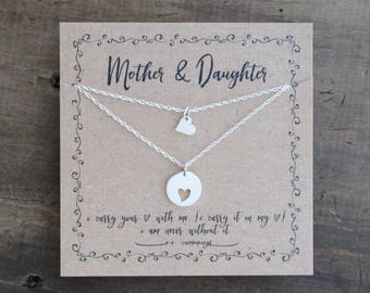 READY 2 SHIP Mother Daughter  Necklace  .  i carry your heart mother and a daughter  .  mother of the bride gift  . back to school gift