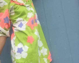 Vintage 70s Lime Green Groovy Dress