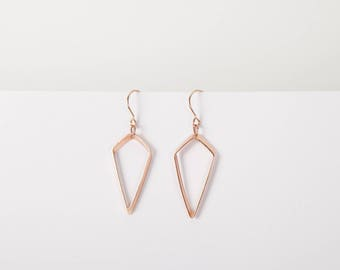 Rose Gold Rhombus Minimal Pendant Earrings Dangly Earrings Rose Golden