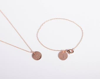 Set Rose Gold Plated Bracelet And Necklace Anchor Rosegold Plated Necklace Coin Disc Anker Golden Ring