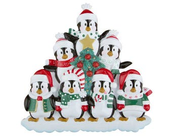 FREE SHIPPING 7 Happy Christmas Penguins Personalized Christmas Ornament / Family Christmas / Penguin Family ornament / 7 Penguin ornament