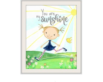 You Are My Sunshine Childrens Art Print, Whimsical Wall Art, Girl in Sunshine, Nursery Wall Art, Bright Happy Fun Wall Art