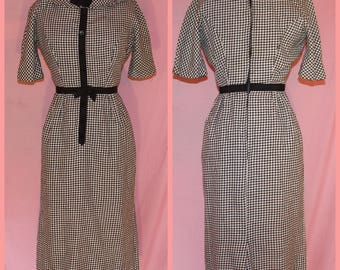 50s black and white checkered school girl style dress