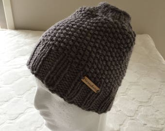 Messy bun beanie, women's grey alpaca knit beanie, alpaca knit hat, wool knit beanie, wool knit hat.
