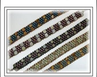 15% Off - Summer Sale - Tutorial ~ Czechmate Tile & SuperDuo Cuff Bracelet by Reggie's Creations ~ Beaded Bracelet Pattern ~ Bead Packs in L