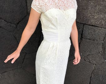 1960s white lace bombshell wedding dress by Lorrie Deb San Fran