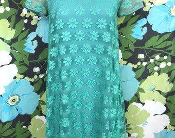 1960's Teal Lace Babydoll Dress