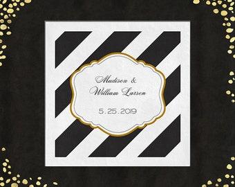 100+ Wedding Napkins Black Gold Cocktail Napkins Beverage Napkins Cake Napkins Custom Napkins Diagonal Stripe Napkins any ink color!