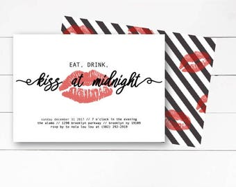 Eat, Drink, Kiss at Midnight Invitation, New Years Eve Invitation, New Years Eve Party Invitation, New Years Invitation, DIY or Printable