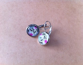 Black and white birds with pink cabochon earrings